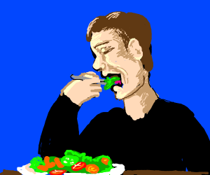Eating a salad