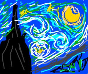 Starry heavens,surreal trees swirl like paint