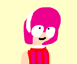 A girl with pink hair