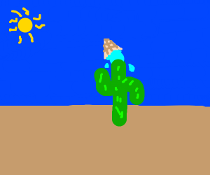 Oh no my ice cream fell in some cacti