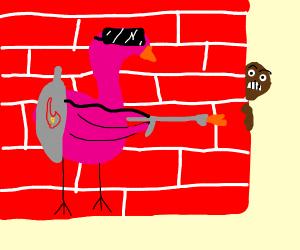 black man hidding from a piroman flamingo