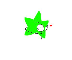 guy hugging a green star
