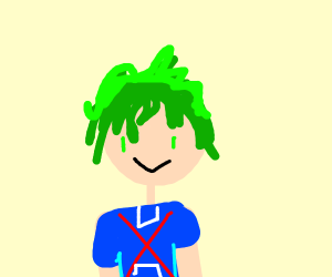 Guy with spiky green hair