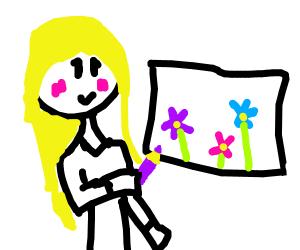 She draws flowers