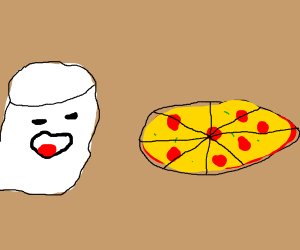 Marshmellow about to eat pizza