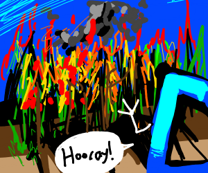 Drawception started fire on forest. Hooray