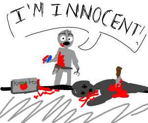 Murderer covered in tomato sauce is innocent