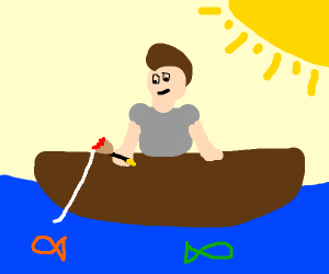 Man in boat fishing with paint brush