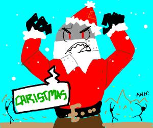 Robo-Santa angrily spreads christmas cheer