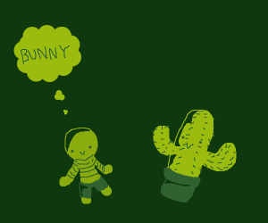 Man thinks about bunny by cactus