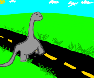 dinosaur crossing the street