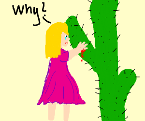 Girl doesn't know cacti are pointy