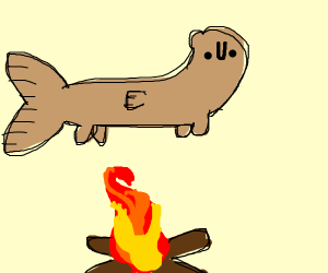 Otter-fish flying over a bonfire