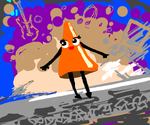 Female anthropomorphized traffic cone