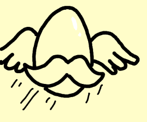 flying egg with mustache