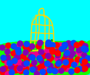 yellow birdcage in the middle of flowers