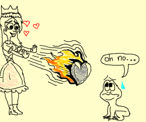 princess sends heart shaped meteor at frog