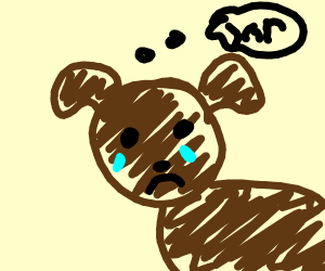 A brown, crying dog