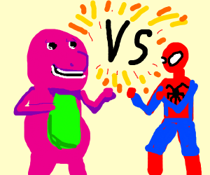 barney the dinosaur vs. spiderman