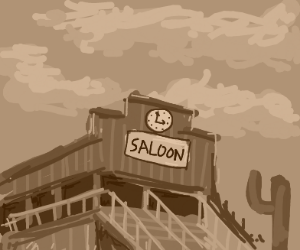 Tavern with clocktower in the old west