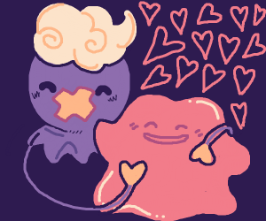 Ditto and Drifloon are good friends.