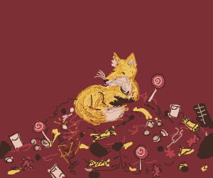 Fox resting on a pile of candy
