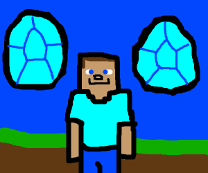 minecraft steve with diamonds