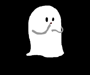 Ghost with two gray arms and vampire teeth.