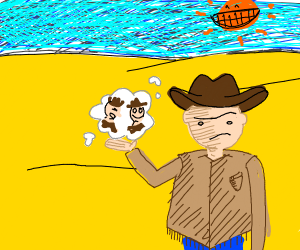man in deserts wonders where the cowboys are