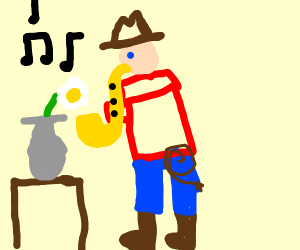 Cowboy playing sax to flower in vase on table
