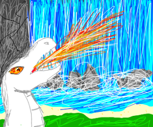 a white dinosaur setting fire to a waterfall