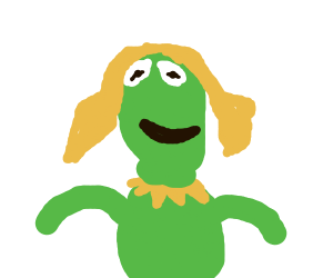 Kermit but with Miss Piggy's hair