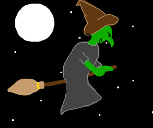 green witch on broom
