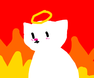 Adorable white cat with halo in hell