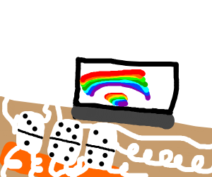 dominoes watches rainbows on tv