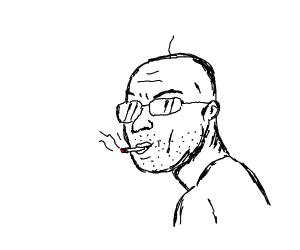 Bald guy with single strand of hair, smokes