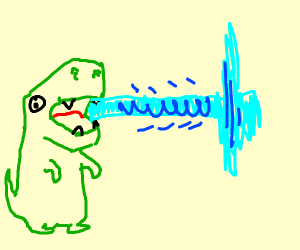 dinosaur shooting lasers with his mouth