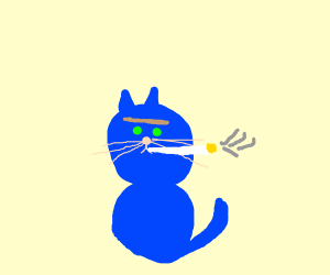 Blue Cat with Unibrow smking a cig