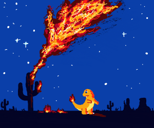 Charmander is catching the desert on fire