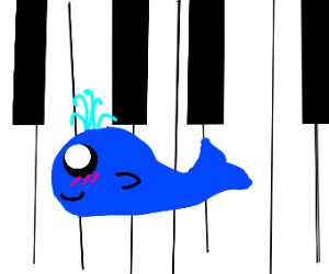 whale tries to play the piano