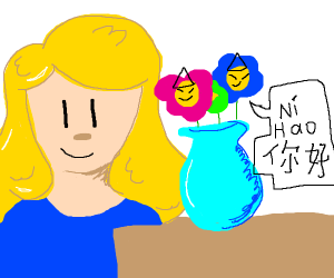 Blonde sees Chinese flowers in a vase