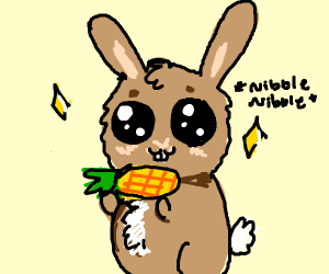 Kawaii rabbit nibbles on corn.
