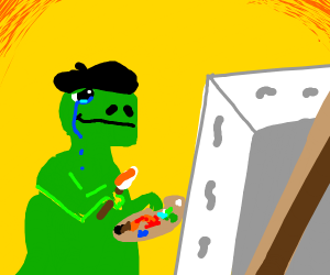 artistic dino after his masterpiece