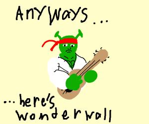 Karate Shrek plays guitar