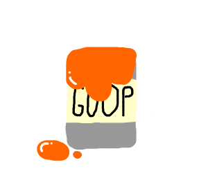 Orange goop gooping out of a can