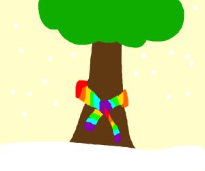 tree with rainbow scarf