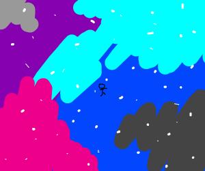 Little stickman in the vast space