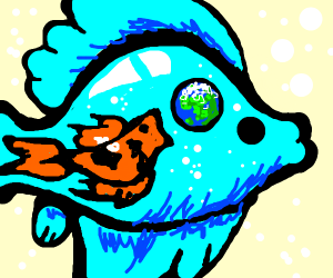 A fish within a fish about to eat the earth