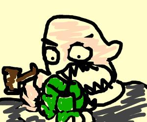 Judge eating Lettuce