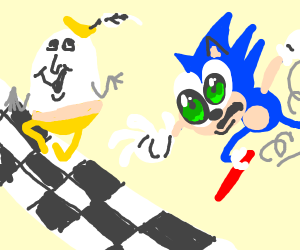 Sonic loses a race to Humpty Dumpty